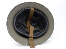 British MKII Helmet Interior – 1940 – Chinstraps and leather suspension visible.