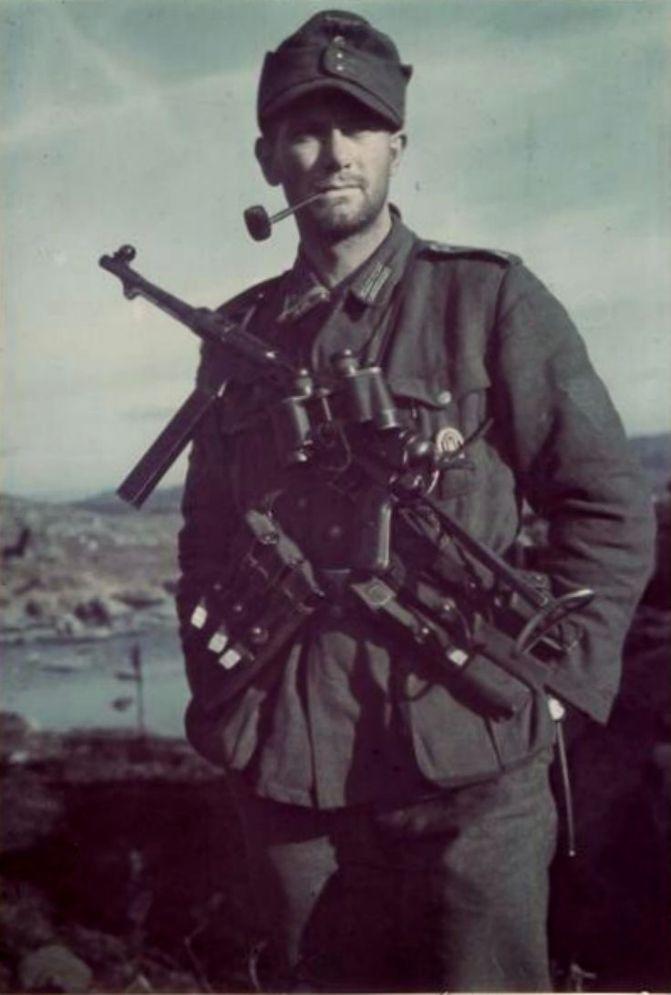 German Soldier Smoking Pipe